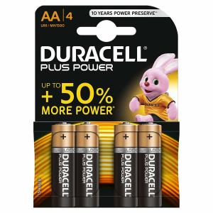 Duracell Plus Power Type AA Alkaline Batteries, Pack of 4