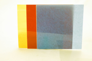 3 x 10cm square Gelatine filters Red/Blue/Orange