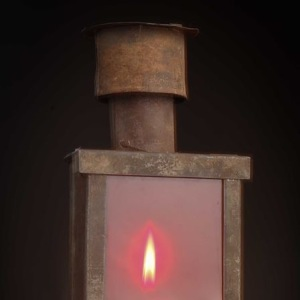 Candle or oil laboratory lantern with chimney, pre-1900 Safelight
