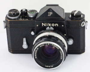 Black Nikon F Eye Level Finder 35mm SLR camera c/w 50mm f2 Nikkor H